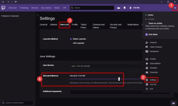 How to Allocate More RAM to Minecraft Server with Twitch Desktop App