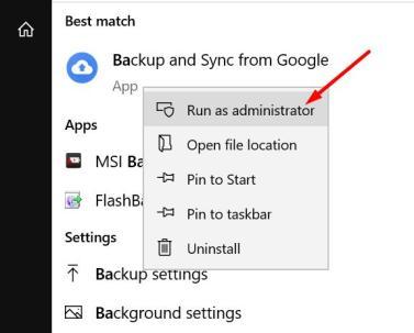 Run as administrator Google Drive