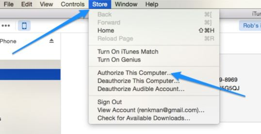 Authorize your computer on iTunes