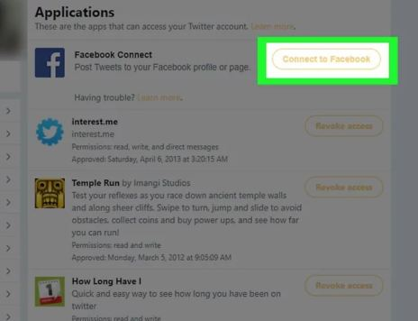 Connecting Facebook to Twitter