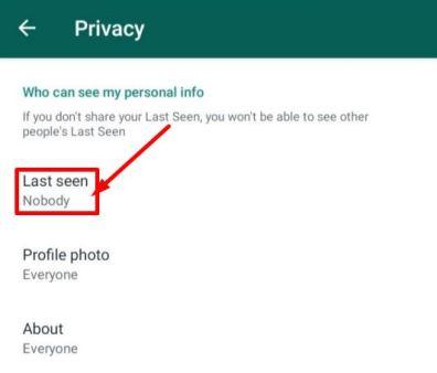Last Seen Privacy on WhatsApp