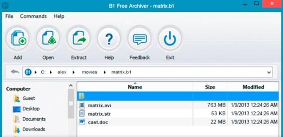 WinRAR Alternatives : B1 Free Archiver