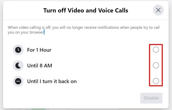Turn off video and voice call on facebook messenger