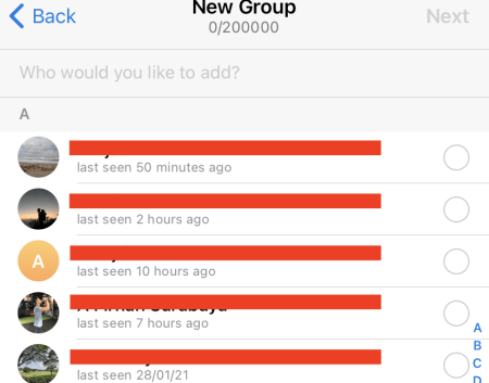 Choose the contacts you want to add to the group