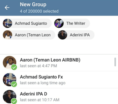 Select the contacts you want to add to the new group