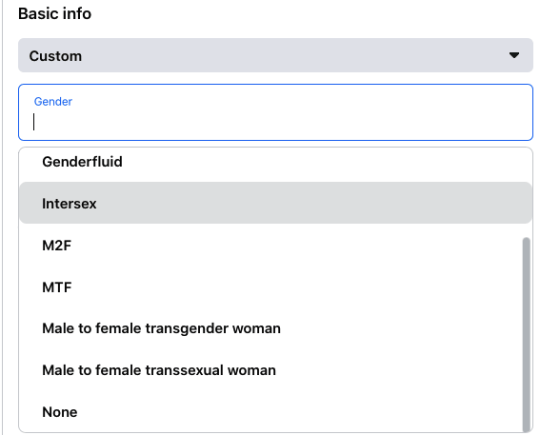 Click Custom if you don't identify yourself as male or female