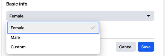 Click the drop-down menu next to Gender option and choose a gender of your preference