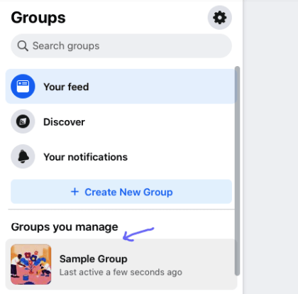 Click on a group you want to pin a post