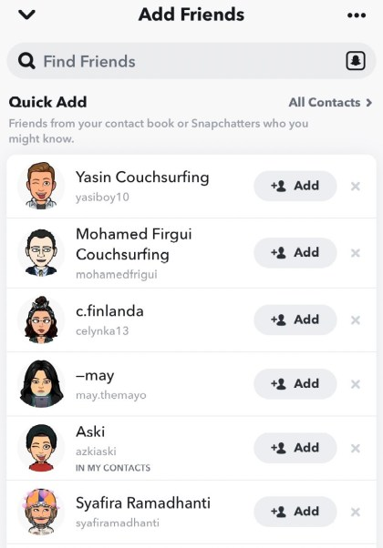 Once it is synced, anyone who have Snapchat account will appear on the list