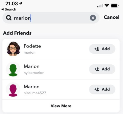 Tap + Add to add on your Snapchat
