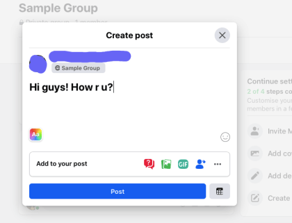 Write a message and post to the group.