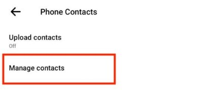 Select Manage contacts.