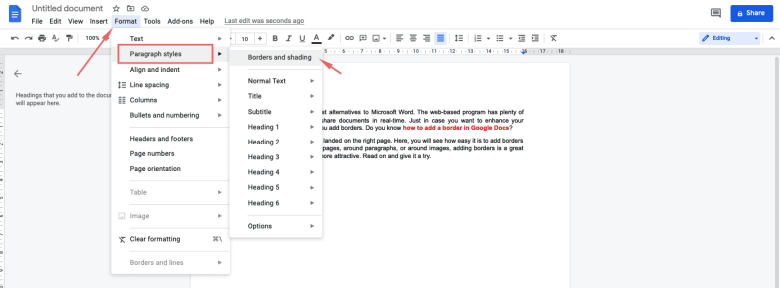 Click Format on the menu bar