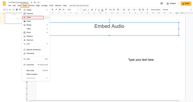 Click Insert in the menu bar, navigate to Audio