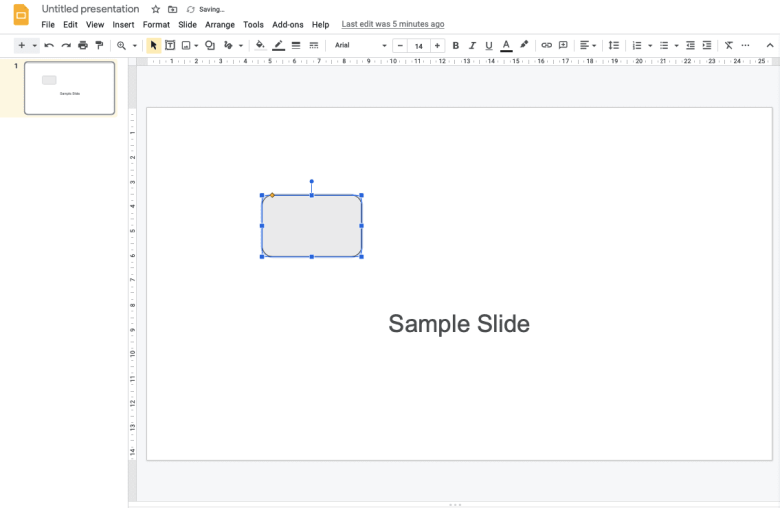 Drag your mouse on the slide to add the shape or line