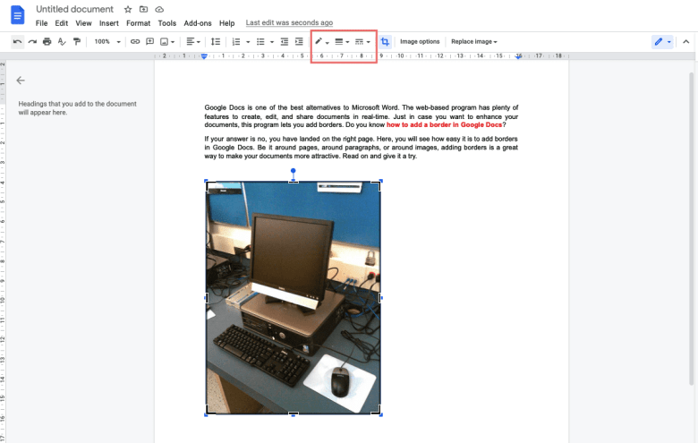 Use border icons on the toolbar to customize image borders
