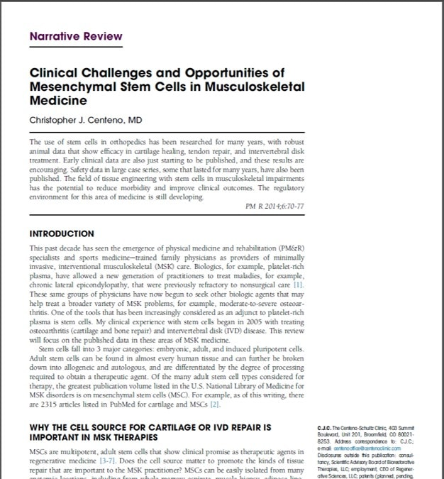 Regenexx Team Publishes Another Peer Reviewed Paper This Week
