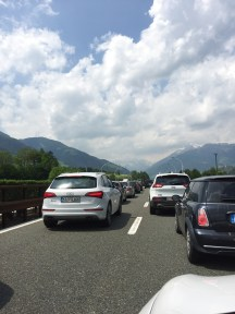 Traffic jam along the route back