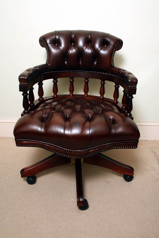 antique leather swivel desk chair sears lounge cushions english hand made captains   ref. no. 02331