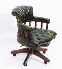 English Hand Made Leather Captains Desk Chair Green | Ref ...