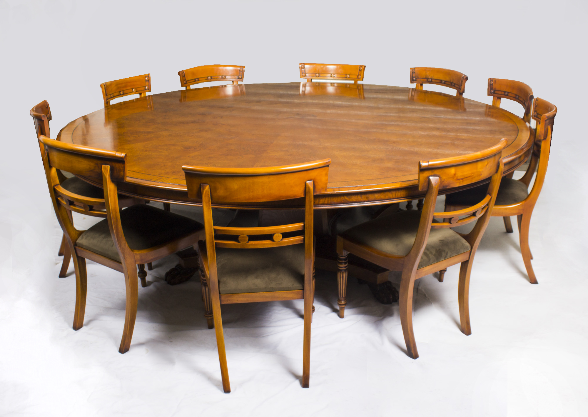 large round oak dining table 8 chairs big lots desk chair vintage set 8ft diam pollard and 10
