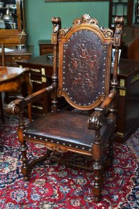 Antique Spanish Walnut Armchair Throne Chair C1840