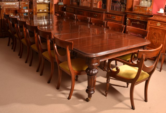 Antique 12ft Victorian Dining Table C1860 Amp 14 Chairs Ref No 05636a