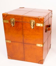 English Hand Made Leather Trunk Luggage Bedside Table