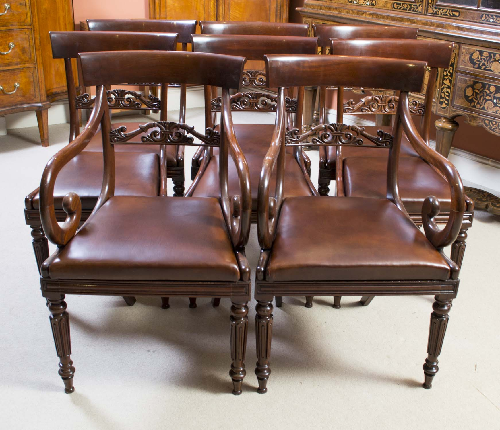 set of 8 dining chairs how to build adirondack antique regency mahogany c 1820
