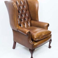 Leather Wing Chairs Muskoka Chair Covers Canada Chippendale Back Armchair Yellow Tan