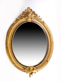 Beautiful Large Italian Gilded Decorative Oval Mirror