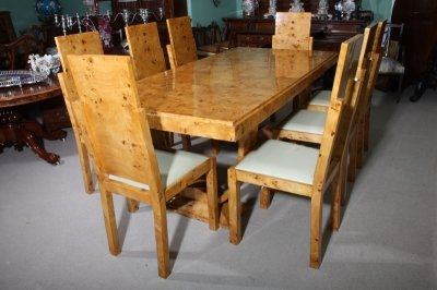 maple kitchen table small commercial cost stunning art deco birdseye dining 8 chairs ref no 01504