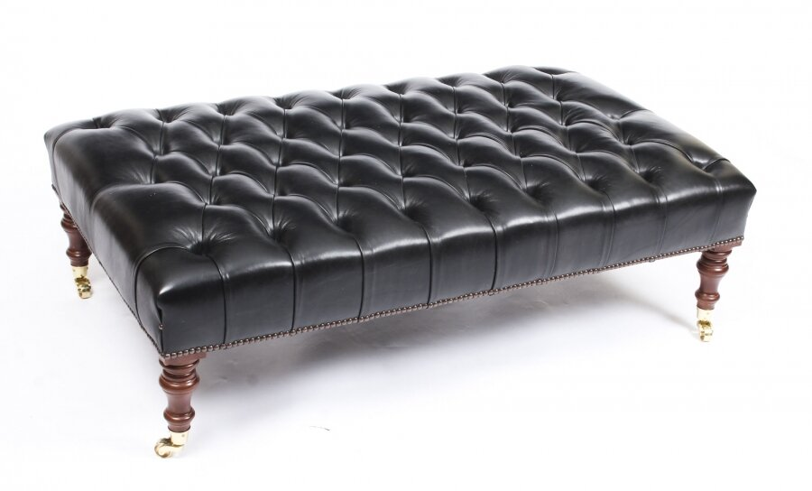 bespoke large leather stool ottoman coffee table black 4ft x 2ft 6inches