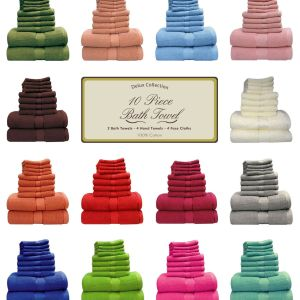 Deluxe 6 Piece Bath Towels Set - 2 Bath, 2 Hand, 2 Face Cloth - quick-cleaning-supplies