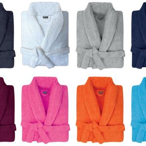 Mens & Womens 100% Cotton Terry Towelling Shawl Collar Bath Robe Dressing Gown. - quick-cleaning-supplies