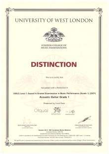 Diploma in chitarra LCM-RGT