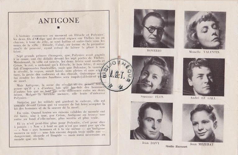 Programmes Originaux De Thtre Antigone De Jean ANOUILH