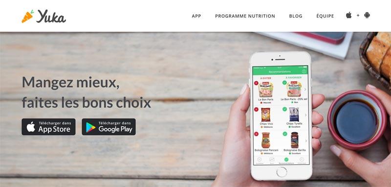 Capture d'écran de l'application Yuka qui scanne les étiquettes et la valeur nutritionnelle des aliments que l'on achète
