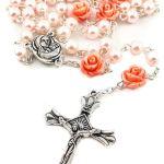 corona del santo rosario di perle rosa