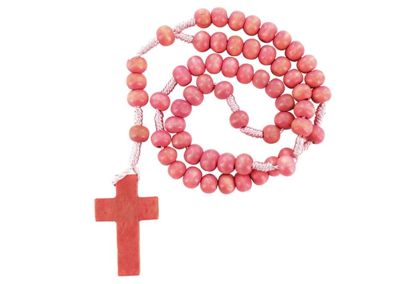 corona del rosario in legno rosa