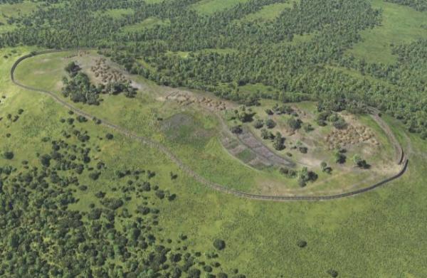 Recreación del poblado prerromano de Monte Ornedo. Fuente MUPAC (Museo de Prehistoria y Arqueogía de Cantabria)