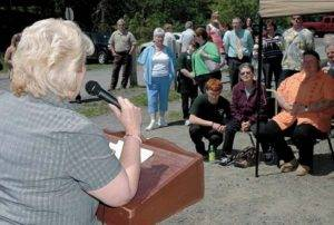 Robin Wentworth, left speaks during the Regional Animal Shelter ribbon-cutting ceremony in Gloversville on 5/17. The Leader-Herald/Bill Trojan