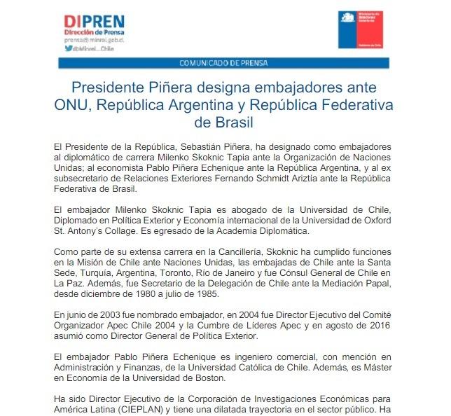 Pablo  Piñera, nuevo embajador en Argentina