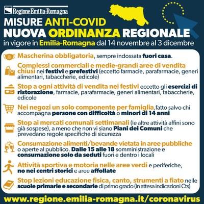 Nuova ordinanza regionale dal 14 novembre