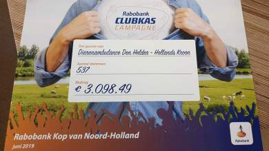 Photo of Riante cheque voor Dierenambulance Den Helder-Hollands Kroon