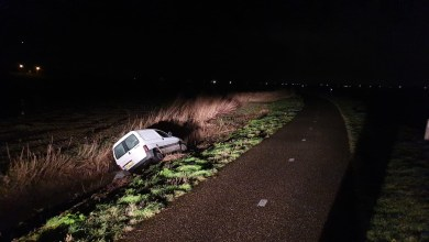 Photo of Auto van de weg en in de sloot