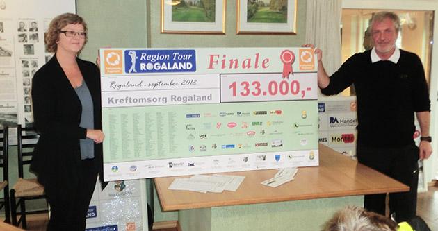 Ragnhild Stangeland, kreftsykepleier i Kreftomsorg Rogaland, mottar her sjekken fra Region Tour Rogalands leder Bjørn Kr. Stangeland.