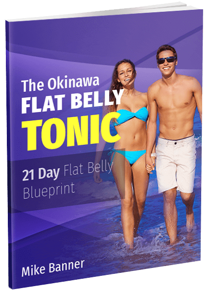 the cover of okinawa flat belly which shows a young man topless wearing sunglasses holding hands with a young woman wearing blue bikini in violet background on a beach