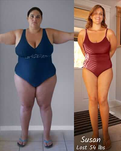 a photo split in two that shows susan before and after. in the left susan before okinawa flat belly tonic effect is wearing a blue swimming suit her hair is black, her arms are forming a t shape as she keeps them standing and she has no face expression. on the left susan after okinawa flat belly tonic effect is wearing a red swimming suit and her hair is long and brown and she is smiling