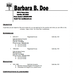 nurses resume template - Resume Registered Nurse Examples